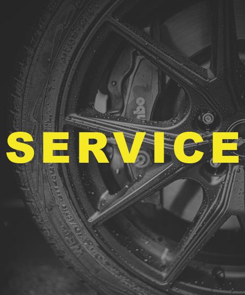 Schrift Service vor Reifen und Felgen